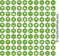 100, hexagone, vert, pluie, icônes
