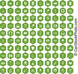 100, hexagone, vert, récréation, icônes