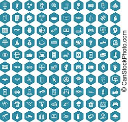 100 hi-tech icons sapphirine violet - 100 hi-tech icons set...