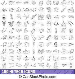 100 hi-tech icons set, outline style - 100 hi-tech icons set...