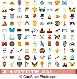 100 history center icons set, flat style