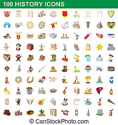 100 history icons set, cartoon style