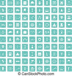 100 history icons set grunge blue - 100 history icons set in...