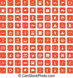 100 history icons set grunge orange - 100 history icons set...