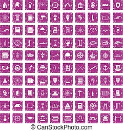 100 history icons set grunge pink - 100 history icons set in...
