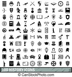 100 history icons set, simple style - 100 history icons set...