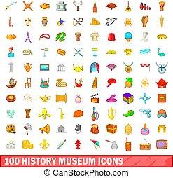 100 history museum icons set, cartoon style