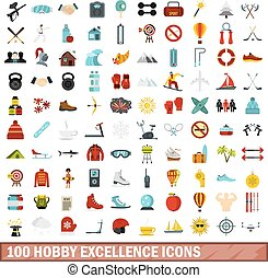 100 hobby excellence icons set, flat style