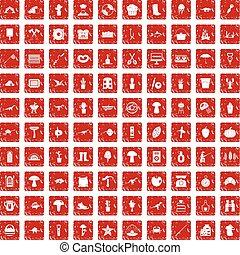 100, hobby, icone, set, grunge, rosso