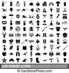 100, hobby, icone, set, semplice, stile