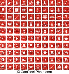 100 hobby icons set grunge red - 100 hobby icons set in...