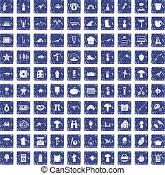 100 hobby icons set grunge sapphire - 100 hobby icons set in...