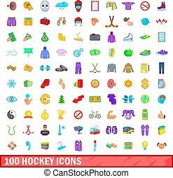100 hockey icons set, cartoon style