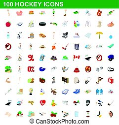 100 hockey icons set, cartoon style