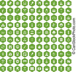 100 holidays family icons hexagon green