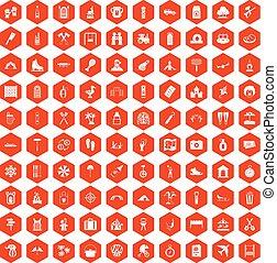 100 holidays family icons hexagon orange