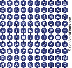 100 holidays family icons hexagon purple