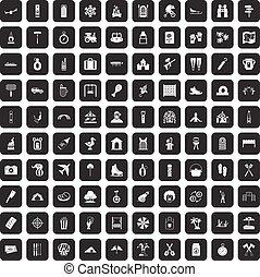 100 holidays family icons set black