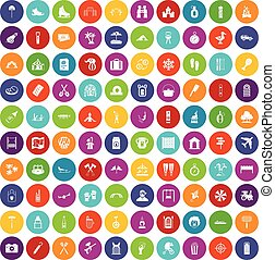 100 holidays family icons set color