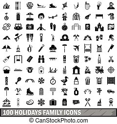 100 holidays family icons set, simple style