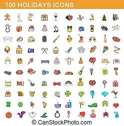 100 holidays icons set, cartoon style