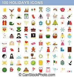 100 holidays icons set, flat style