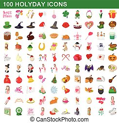 100 holyday icons set, cartoon style