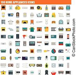 100 home appliances icon set, flat style