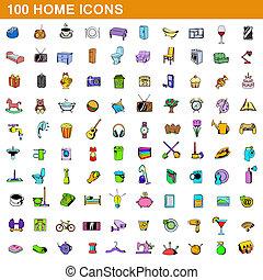 100 home icons set, cartoon style