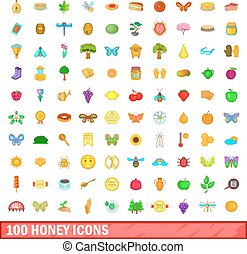 100 honey icons set, cartoon style