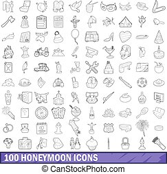 100 honeymoon icons set, outline style