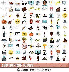 100 horror icons set, flat style - 100 horror icons set in ...