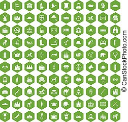 100 horsemanship icons hexagon green