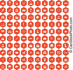 100 horsemanship icons hexagon orange