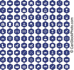100 horsemanship icons hexagon purple