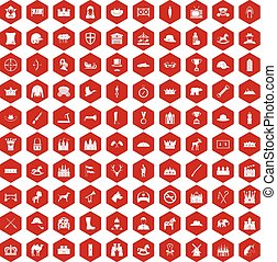 100 horsemanship icons hexagon red