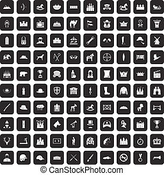 100 horsemanship icons set black