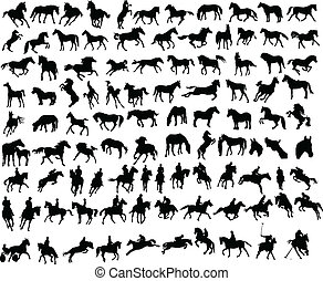 100 horses - 100 vector silhouettes of horses
