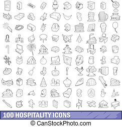 100 hospitality icons set, outline style