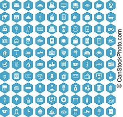 100 hotel icons set blue