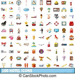 100 hotel icons set, cartoon style