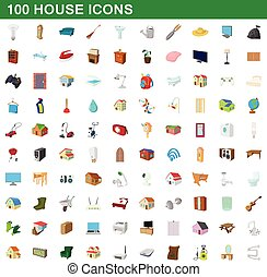 100 house icons set, cartoon style