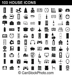 100 house icons set, simple style