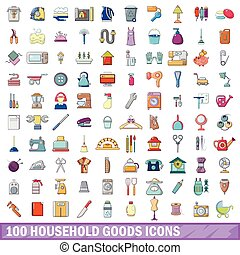 100 household goods icons set, cartoon style - 100 household...