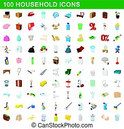 100 household icons set, cartoon style