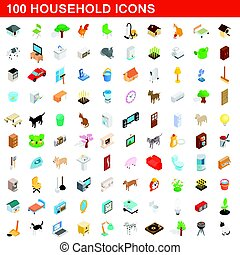 100 household icons set, isometric 3d style