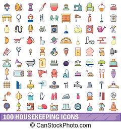 100 housekeeping icons set, cartoon style