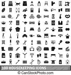 100 housekeeping icons set, simple style - 100 housekeeping ...