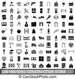 100 housing construction icons set, simple style
