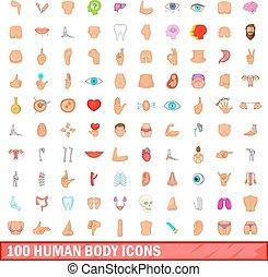 100 human body icons set, cartoon style - 100 human body...